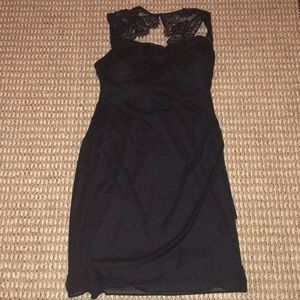 Dresses - Little black cocktail party dress with lace detail